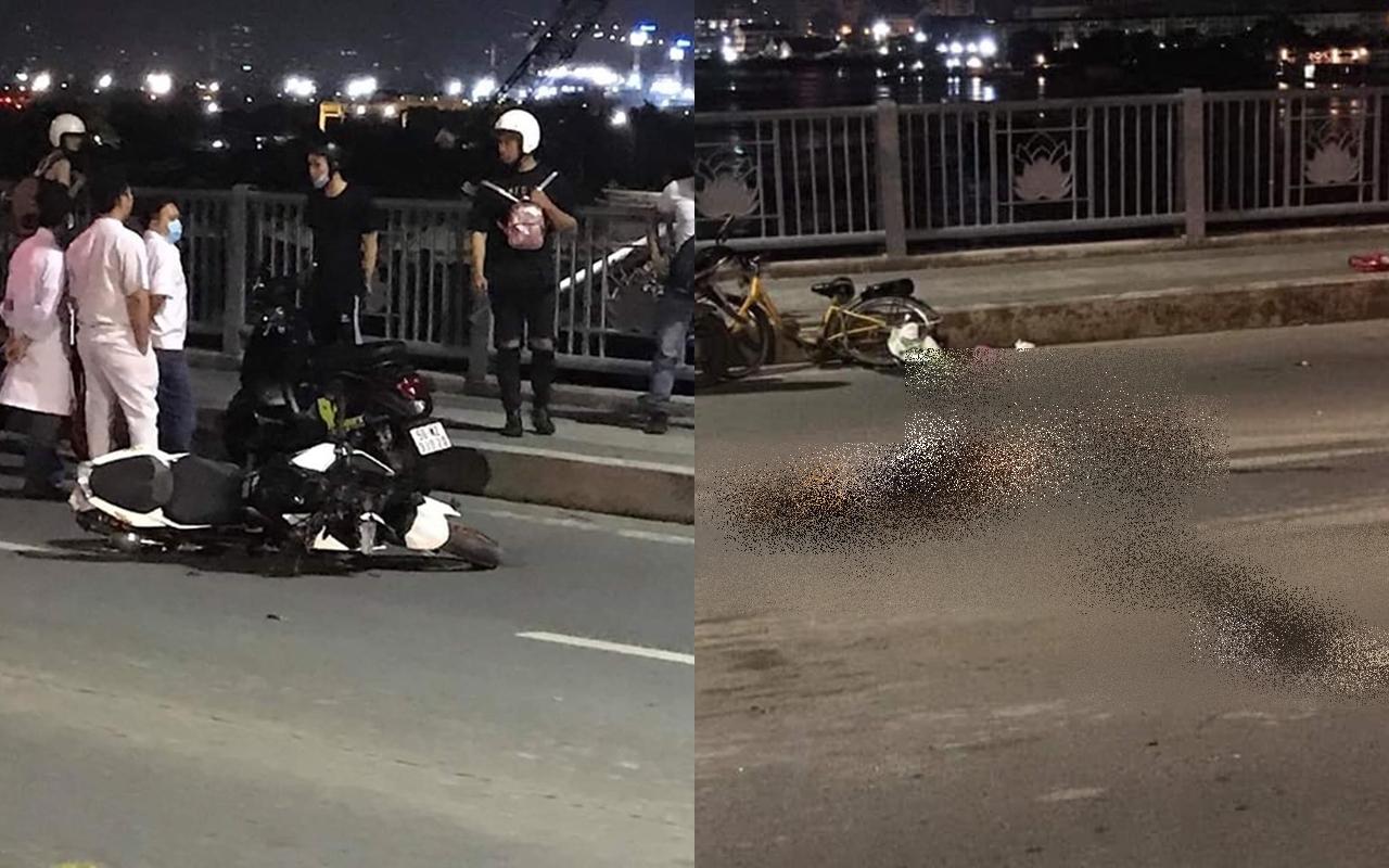 Thanh nien chay KTM Duke 390 toc do cao tong nguoi dan ong di xe dap tu vong