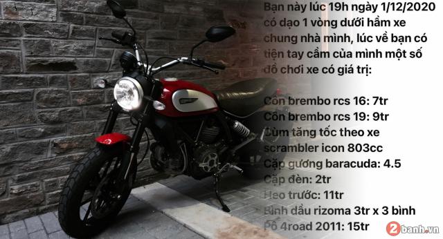 Ducati Scrambler bi tho mat dan do choi gan 50 trieu trong ham gui xe tai SG